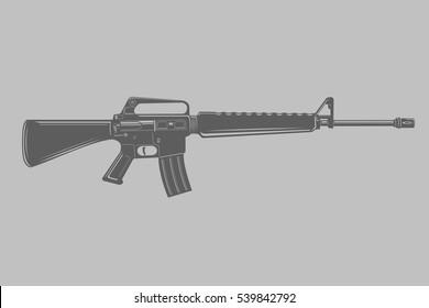 Black/transparrent assault rifle vector illustration. Classic armament.