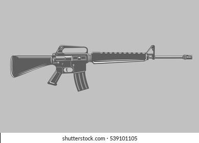 Black/white assault rifle vector illustration. Classic armament.