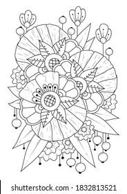 Fondo blanco-negro. Página de coloreado con flores vintage abstractas.