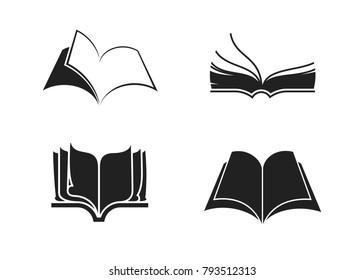 Black-white book icons set (four pieces). Vector illustration, eps 8.