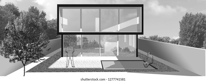 Black/white, gray scale, rendering of modern contemporary house with backyard for sale/rent with grass. Clear summer evening with soft sky. Cozy warm light on window. Shadows and detail on glasses