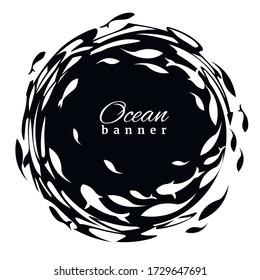 Black-white ocean banner. Fish label design template. Fish logo design  for fish merchant or seafood restaurant. Vector illustration.