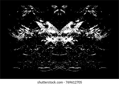Black-White Old Grunge Overlay Particles Texture. Dark Urban Style Distress Vector Background. Monochrome Vintage Abstract Effect Pattern With Noise, Scratch, Dust And Grain. Backdrop. Banner