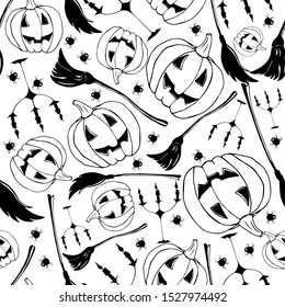 Black-white pumpkin, broom, candlestick, spider. Black and white halloween pattern