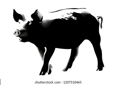 Black&White sketch of pig. Hand drawn vector illustration