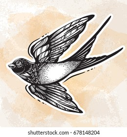 Blackwork tattoo flash. Beautifully detailed flying swallow bird. Vintage retro style design. Isolated vector illustration. Romance, lifestyle, freedom, tattoo. Print, posters, t-shirts and textiles.