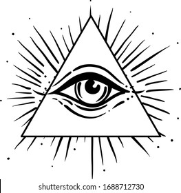 Blackwork tattoo flash. Eye of Providence. Masonic symbol. All seeing eye inside triangle. Isolated vector illustration