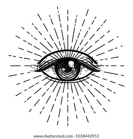 Immagine vettoriale a tema Blackwork Tattoo Flash Eye Providence ...