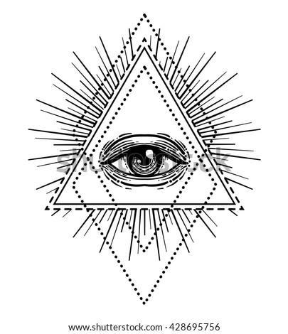 Blackwork Tattoo Flash Eye Providence Masonic Stock Vector Royalty