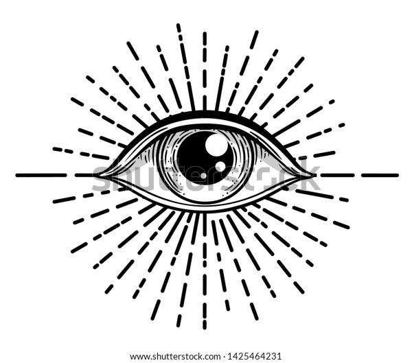 El tatuaje de trabajo negro destelló. Ojo de Providencia. Símbolo masónico. Todos viendo los ojos dentro de la pirámide triangular. Nuevo orden mundial. Geometría sagrada, religión, espiritualidad, ocultismo. Ilustración vectorial aislada