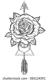 Blackwork tattoo flash. Rose flower, arrow and moon. Highly detailed vector illustration isolated on white. Tattoo design, mystic symbol. New school dotwork. Boho design. Print, posters, t-shirts.