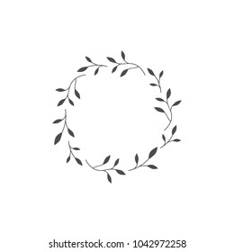 Blacl wreath from blades of grass branches and twigs. vintage garland good for greeting cards. Spring Vector illustration isolated on white