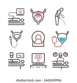 Bladder Cancer. Symptoms, Causes, Treatment. Line icons set. Vector signs for web graphics.
