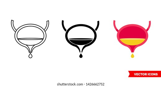 Bladder flush icon of 3 types: color, black and white, outline. Isolated vector sign symbol.