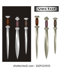 Blade. A double-edged sword, Gabon, West Africa. A collection of swords. Vector illustration. 3d, mesh