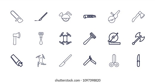 Blade icon. collection of 18 blade outline icons such as bllade razor, razor, circular saw, saw, knife, scalpel, axle with propeller. editable blade icons for web and mobile.
