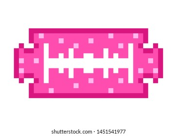 Blade Pixel art 8 bit object. Pink fashion digital game. Pastel icons girly sticker. Vintage assets.