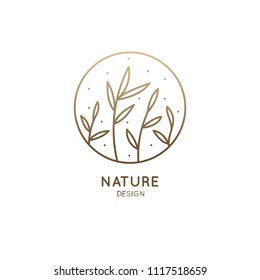 Blades of grass logo. Round emblem plant in a circle n linear style. Vector abstract badge for design of natural products, flower shop, cosmetics, ecology concepts, health, spa, yoga Center.