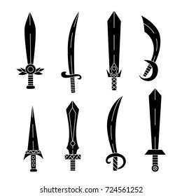 Blades sabers swords silhouettes black  vector set