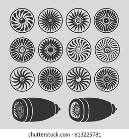 Blades of turbines of the engine of the plane, monochrome icons.