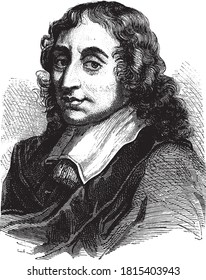 Blaise Pascal, Vintage engraving. From Popular France, 1869.