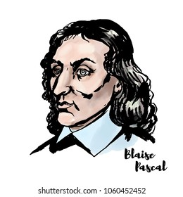 Blaise Pascal watercolor vector portrait with ink contours. French mathematician, physicist, inventor, writer and Catholic theologian.