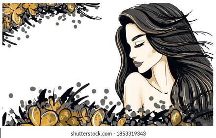 blak hair and lips woman profile template
