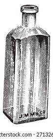Blake bottle used for bottle plates, vintage engraved illustration.