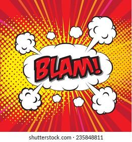 BLAM! wording sound effect set design for comic background, comic strip