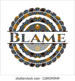 Blame arabic badge background. Arabesque decoration.
