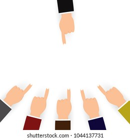 Blaming and confusion for others people concept, finger pointing on white background flat design