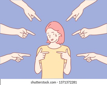 Blaming you. Anxious surprised woman being judged by different people pointing fingers at her. Hand drawn style vector design illustrations.