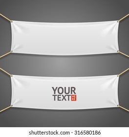 Blanc Fabric Rectangular Banner with Ropes. Vector illustration