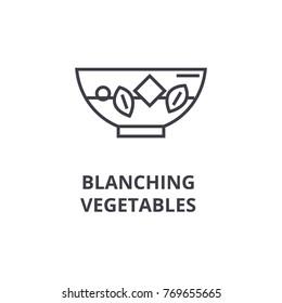 blanching vegetables line icon, outline sign, linear symbol, vector, flat illustration