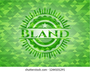 Bland green emblem with mosaic ecological style background