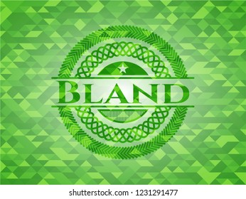 Bland green emblem with triangle mosaic background