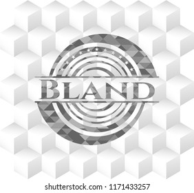Bland grey emblem. Retro with geometric cube white background