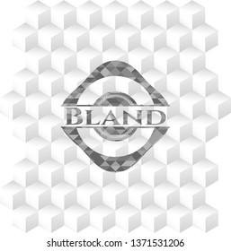 Bland retro style grey emblem with geometric cube white background
