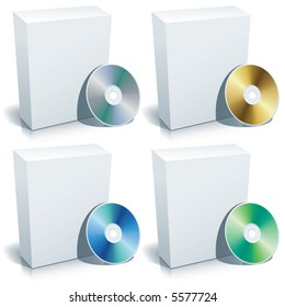 Blank 3d box with DVD, vector