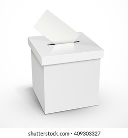 blank 3d illustration white voting box isolated on white background
