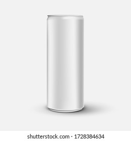 Blank 3d realistic aluminium can mock up, high detailed beer metal can isolated on white background