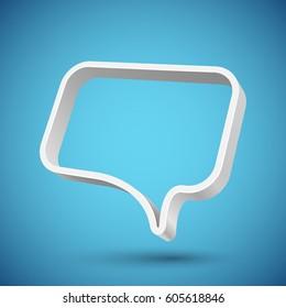 Blank 3D speech balloon banner with blue background. Vector illustration.