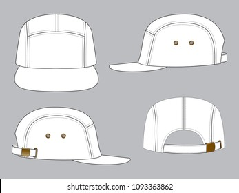 Blank 5 panel cap : White color