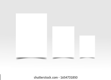 Blank A3, A4, A5  paper. clean mock up vector design.