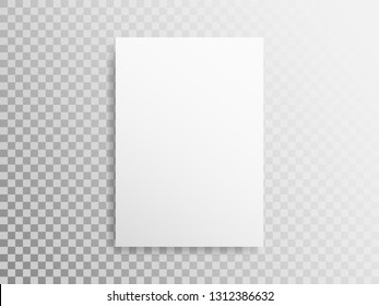 Blank A4 sheet on transparent background. White paper with the shadow. Realistic template for design. White mockup of book or magazine. Empty vertical brochure. Vector illustration.