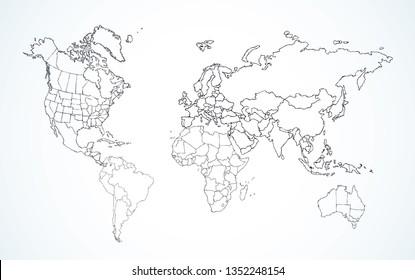 Blank abstrakte soziale Region Nordrussland Bezirk Plan Form auf weißem Papier Textur. Linie schwarz handgezeichnet flaches südöstliches Republic-Element-Logo Emblem in modernem Doodle-Stil