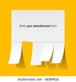 Blank advertisement with tear off tabs. Vector.