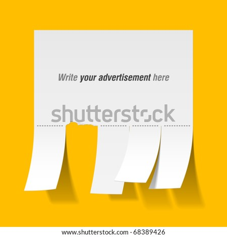 blank advertisement tear off tabs vector stock vector royalty free