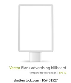 Blank advertising billboard on white background. Front view. Eps10