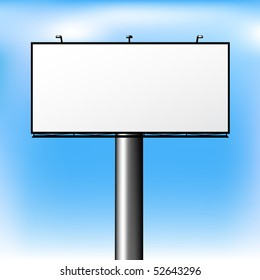 Blank Advertising Billboard Over Sky